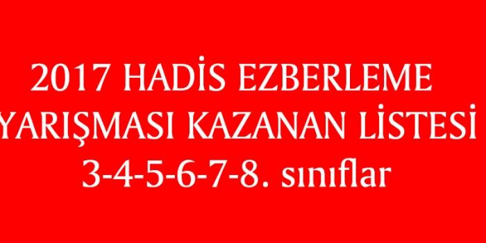 2017 HADİS EZBERLEME YARIŞMASI KAZANAN LİSTESİ