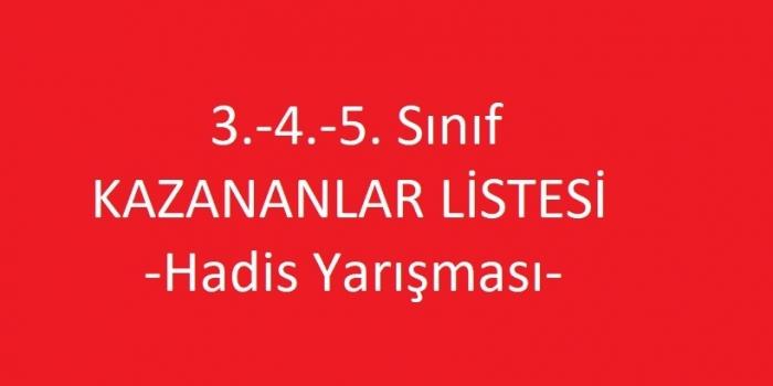 3.-4.-5. Sınıf KAZANANLAR LİSTESİ