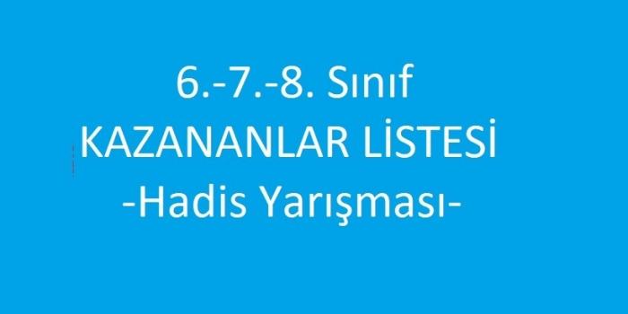 6.-7.-8. Sınıf KAZANANLAR LİSTESİ